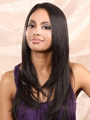 Dazzling Lace Front Human Hair Straight Wig