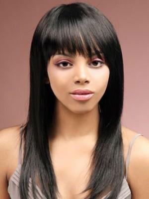 Sleek Straight Long Remy Human Hair African American Wig