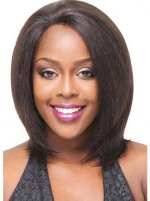 Straight Remy Human Hair Lace Front African American Wig