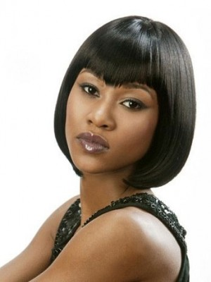 Graceful Short Straight Human Hair African American Wig