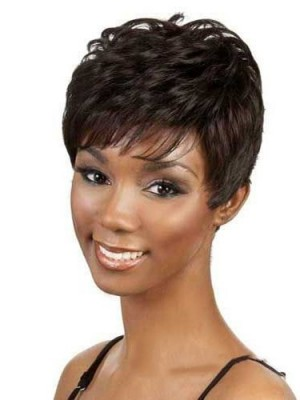 Short Wavy Side Bang African African American Wig