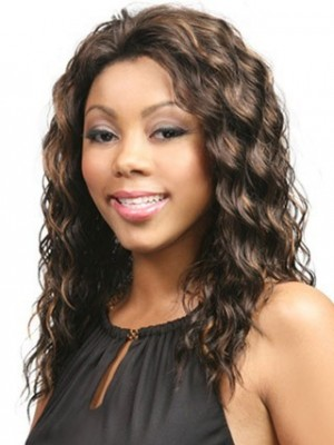Long Wavy Lace Front Synthetic African American Wig