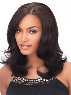 Flattering Human Hair Wavy Lace Front Wig