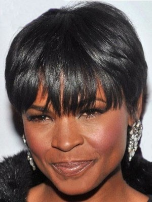 Short Straight Black African American Wig