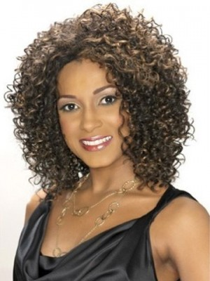 Mid-Length Curly Lace Front Synthetic African American Wig
