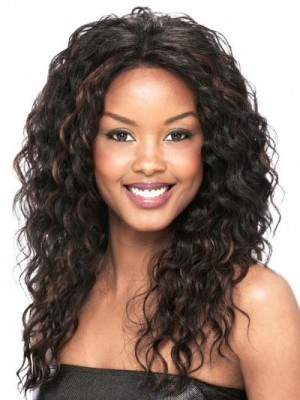 Fashionable Lace Front Remy Human Hair Curly African American Wig