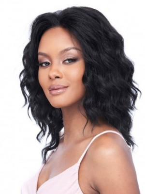 Charming Lace Front Remy Human Hair Wavy African American Wig