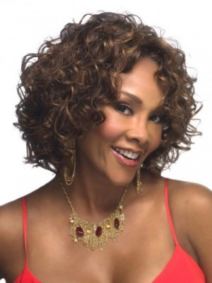 Fashion Lace Front Remy Human Hair Curly African American Wig
