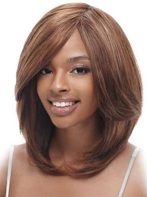 Cute Lace Front Remy Human Hair Straight African American Wig