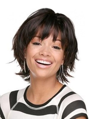 Attractive Capless Remy Human Hair Straight African American Wig