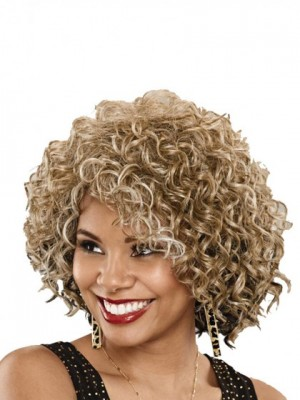 Layered Lace Front Remy Human Hair Curly African American Wig
