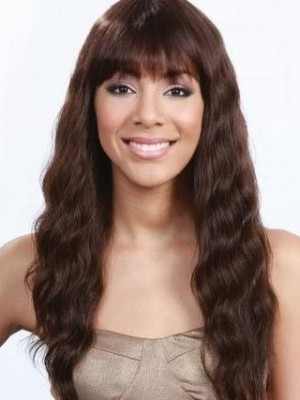 Comfortable Capless Remy Human Hair Wavy African American Wig