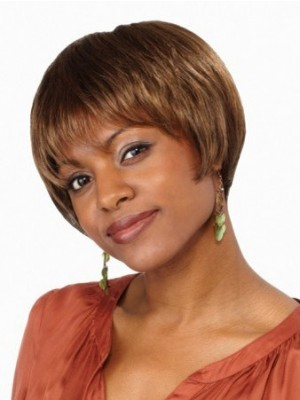 Natural Straight Short Lace Front African American Wig