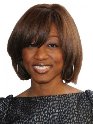 Pretty Capless Remy Human Hair Straight African American Wig