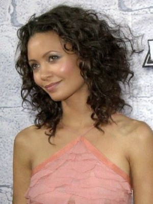 Pleasant Lace Front Curly Synthetic African American Wig