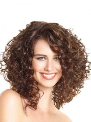 Attractive Lace Front Curly Synthetic African American Wig