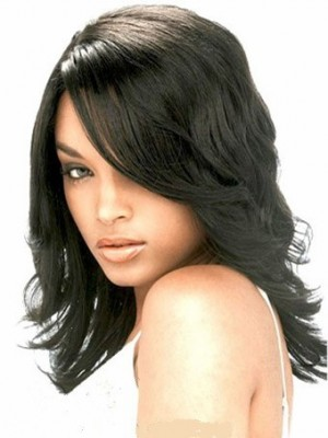 Modern Lace Front Wavy Synthetic African American Wig