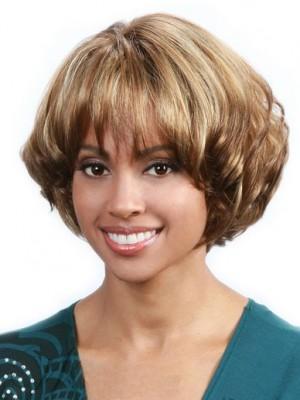 Affordable Capless Wavy Synthetic African American Wig
