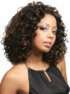 Carefree Fluffy Wavy Lace Front African American Wig