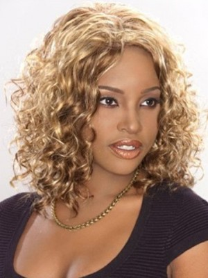 Mid-Length Lace Front Synthetic African American Wig