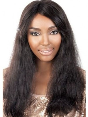 Concise Lace Front Wavy Remy Human Hair African American Wig