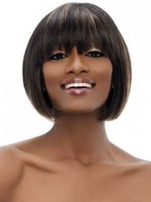 Fashionable Capless Synthetic Straight African American Wig