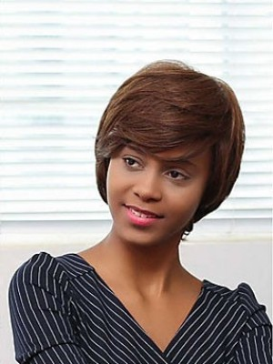 Classic Capless Synthetic African American Straight Wig