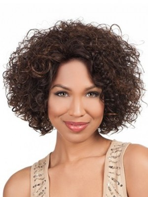 Medium Length Luscious Curly Lace Front African American Wig