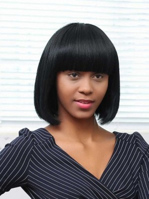 Modern Straight African American Capless Synthetic Wig