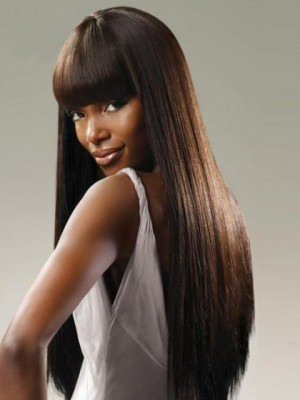 Popular Straight Synthetic African American Capless Wig
