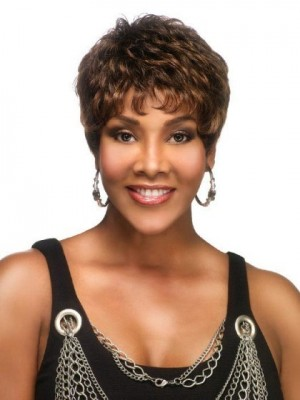 Short Natural Wavy Lace Front African American Wig