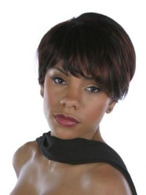 Stylish Short Cute Human Hair African American Wig