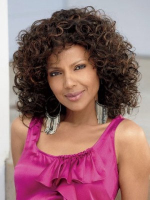 Medium Loose Curly Synthetic Capless African American Wig