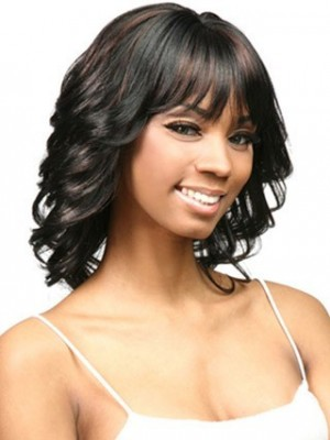 Mid-Length Flipped Wavy Capless African American Wig