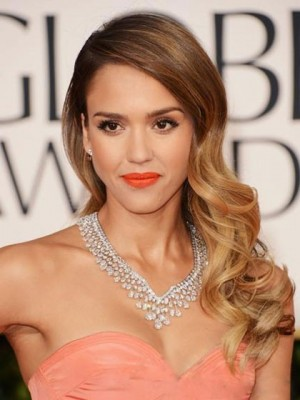 Jessica Alba Dip Dye Long Wavy Synthetic Celebrity Wig
