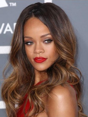 Rihanna Glueless Lace Dip Dye Hairstyle Long Wavy Celebrity Wig