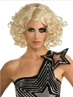 Lady Gaga Medium Wavy Lace Front Celebrity Wig for Woman