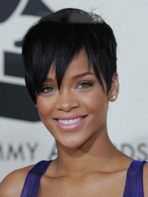 Rihanna Hairstyle Lace Front Short Straight Celebrity Wig