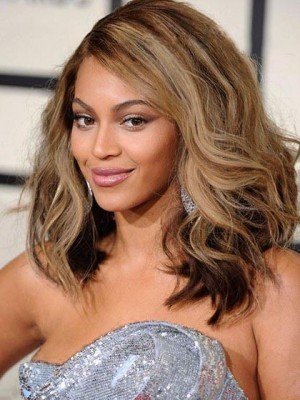 Charming Beyonce Knowles Hairstyle Wavy Lace Celebrity Wig