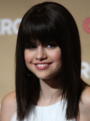 Selena Gomez's Straight Celebrity Wig With Full Bangs