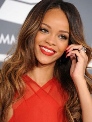 Rihanna's Long Wavy Stunning Capless Celebrity Wig