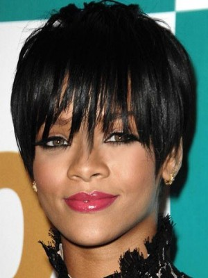 Rihanna Hairstyle Natural Straight Short Capless Celebrity Wig