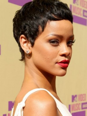 Rihanna's Short Capless Synthetic Celebrity Wig