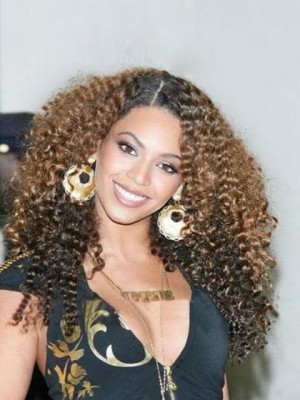 Beyonce Knowles Curly Full Lace Real Human Hair Celebrity Wig