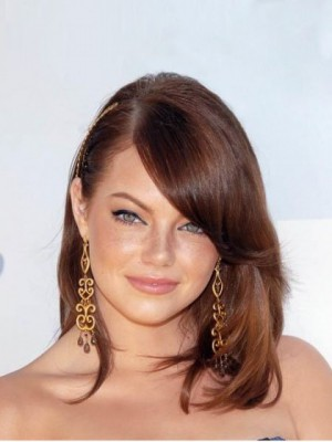 Charming Emma Stone Straight Lace Front Human Hair Celebrity Wig