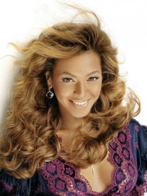 Top Quality Beyonce Hairstyle Long Wavy Blonde Lace Celebrity Wig