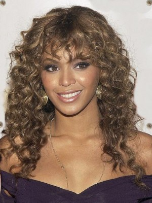 Beyonce Long Wavy Hairstyle 100% Human Hair Monofilament Celebrity Wig