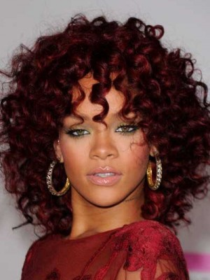 Charming Rihanna Hairstyle Medium Curly Red Celebrity Wig