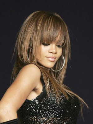 Comfortable Rihanna's Hairstyle Long Human Hair Celebrity Wig