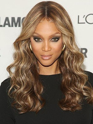 Tyra Banks Long Elegant Wavy Human Hair Lace Front Wig